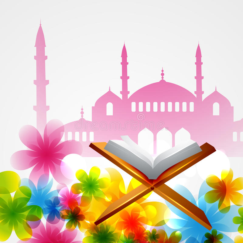 Vector book of quran. Beautiful background of mosque with book of quran vector illustration