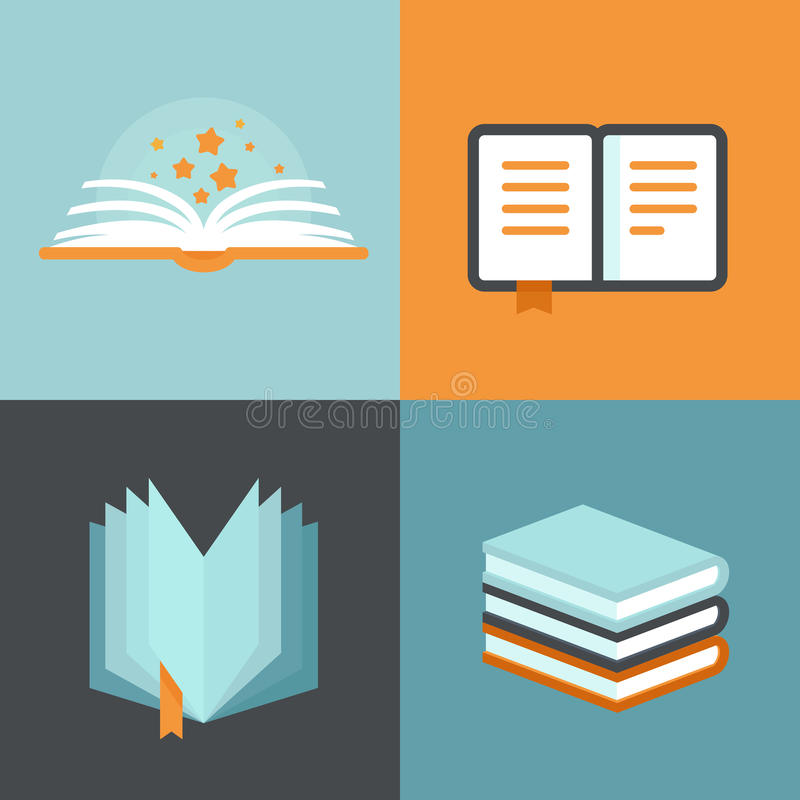 Vector book signs and symbols - education concepts royalty free illustration