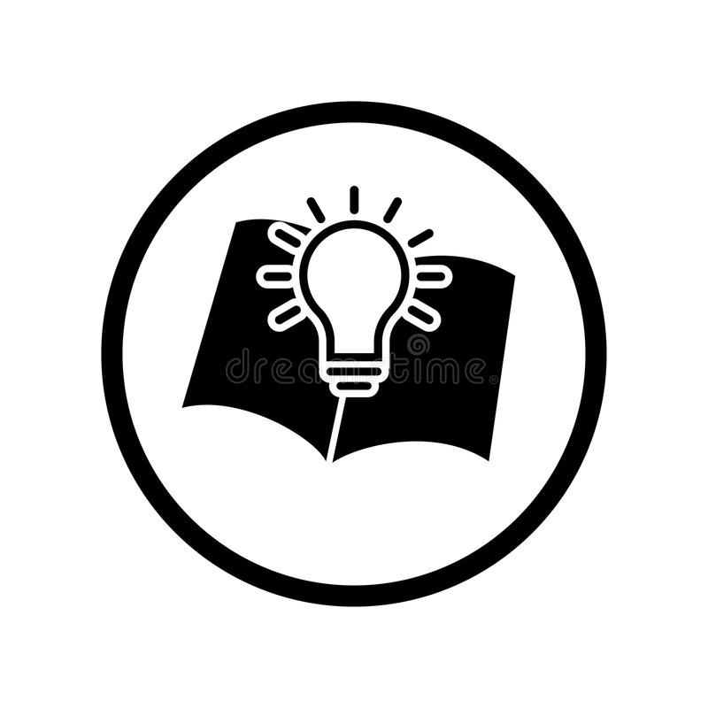 Vector Of Book Symbol And Light Bulb Icon In Circle Line - Vecto ...