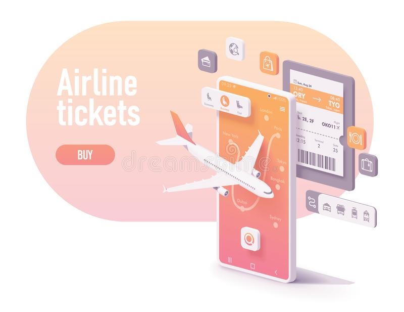 Vector booking airline tickets app concept. Vector booking or buying airline tickets app concept. Smartphone with airplane, airports map, electronic or digital vector illustration