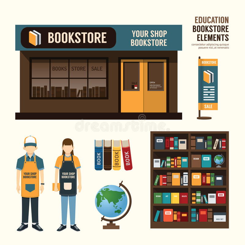 Vector bookstore set design, shop store, package, t-shirt, cap, royalty free illustration