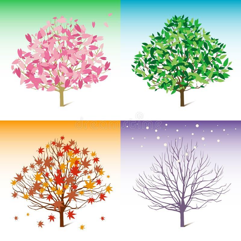 Vector boomillustratie, de lente, de zomer, de winter, royalty-vrije illustratie