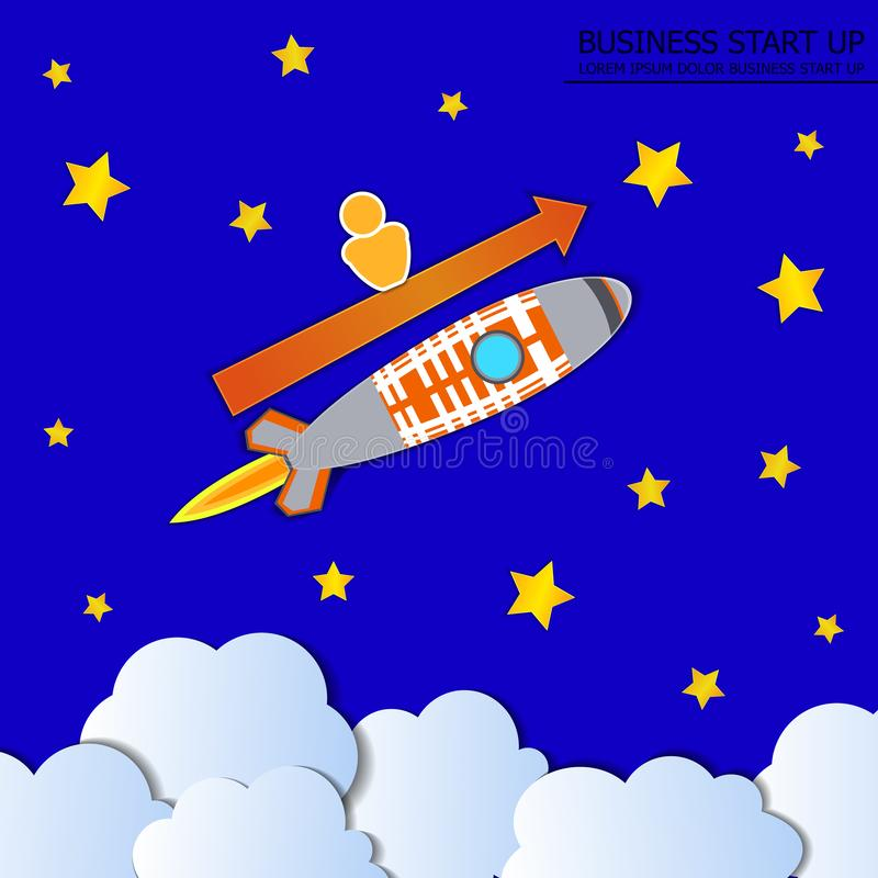 Vector Boost Business Illustration, Rocket with Man and Arrow, Blue Sky with Stars. vector illustration