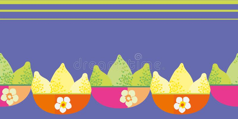 Vector border with limes and lemons in pink orange floral bowls. Seamless citrus fruit banner with space for text on. Purple backdrop. Hand drawn graphic design stock illustration