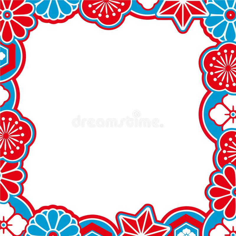 Vector border with red, blue and white traditional Japanese style ornamental flowers and shapes stock illustration
