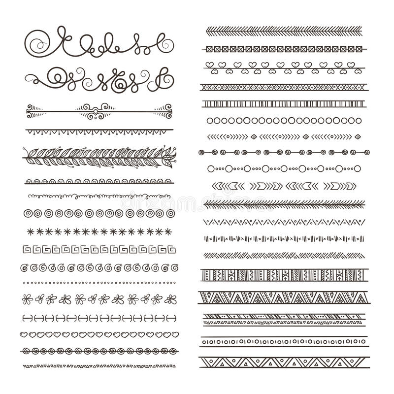 Vector borders and dividers. Hand drawn frames isolate on white vector illustration