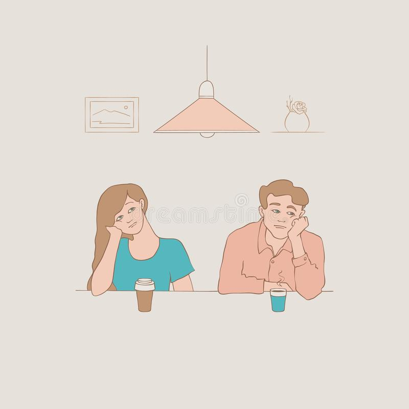 Vector bored schets jonge man en vrouw royalty-vrije illustratie