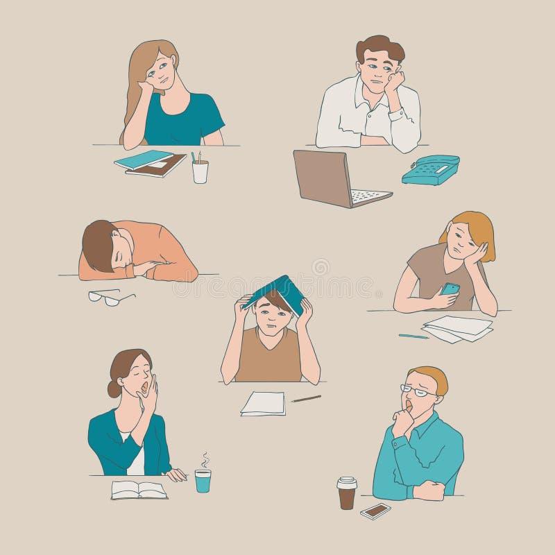Vector bored schetsjongelui, vermoeide geplaatste studenten stock illustratie
