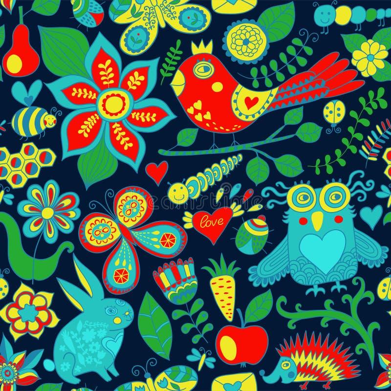 Vector bos naadloos patroon Bloemen achtergrond Uil, konijn, B royalty-vrije illustratie