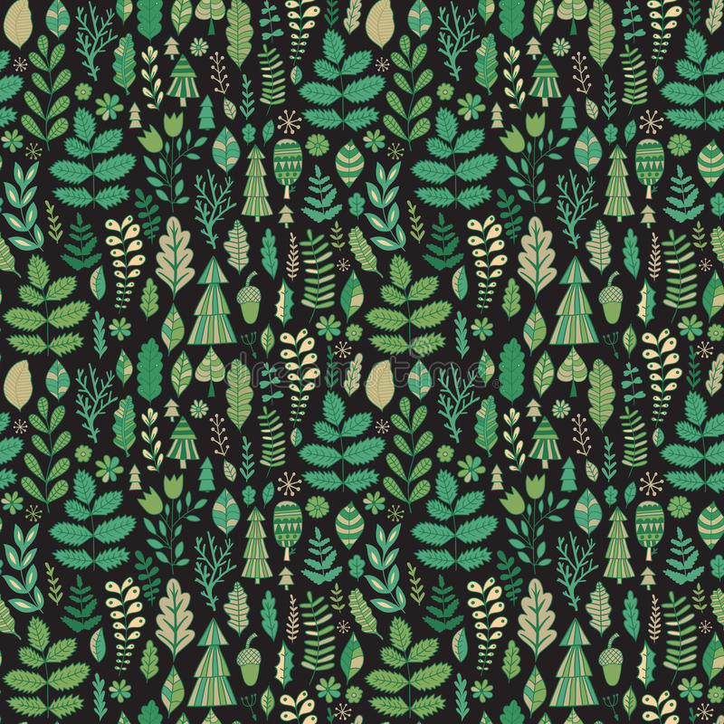 Vector bosontwerp, bloemen naadloos patroon, bladachtergrond Installatiesornament royalty-vrije illustratie