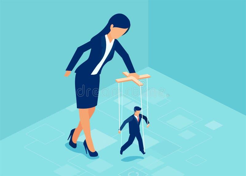 Vector of a boss businesswoman manipulating a puppet businessman stock illustration
