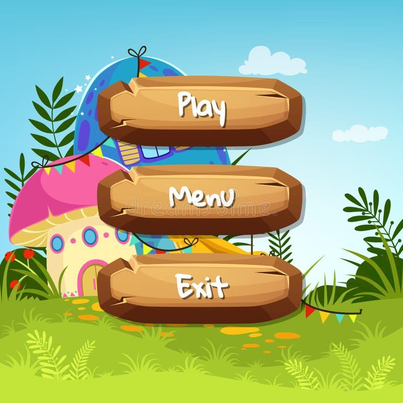 Vector botões de madeira do estilo dos desenhos animados com texto para o projeto de jogo no fundo das casas do cogumelo do conto ilustração stock