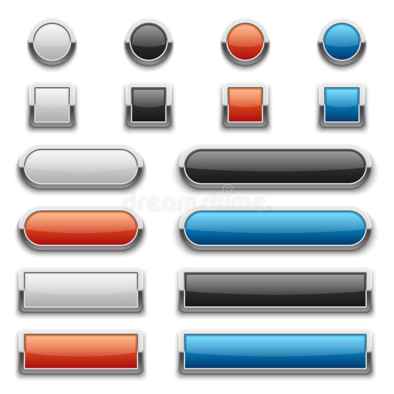 Vector botões lustrosos vermelhos, azuis, preto e branco com quadro brilhante do metal ilustração do vetor