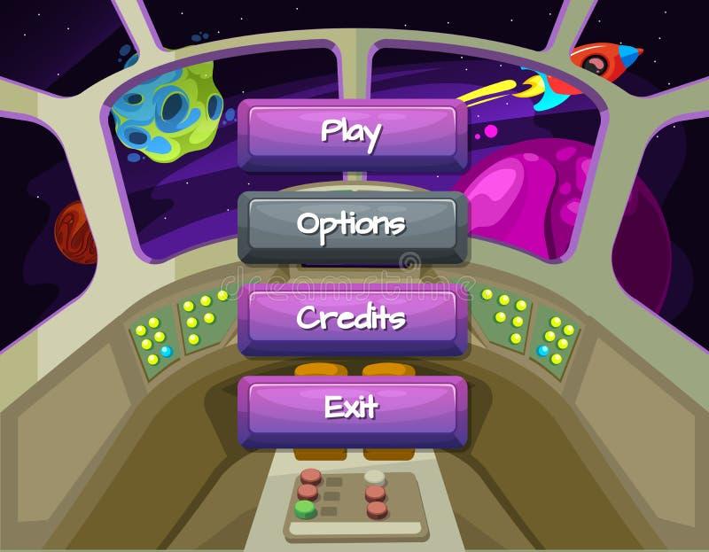 Vector botões permitidos e deficientes do estilo dos desenhos animados com texto para o projeto de jogo no fundo da textura da na ilustração royalty free