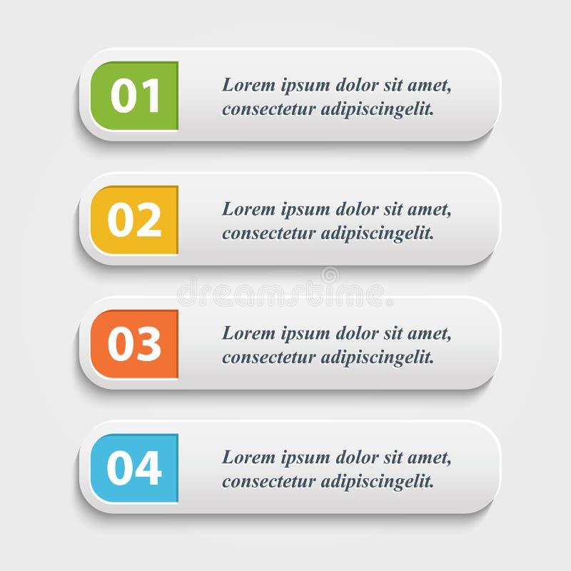 Vector botões realísticos da Web, bandeira, infographic ilustração stock