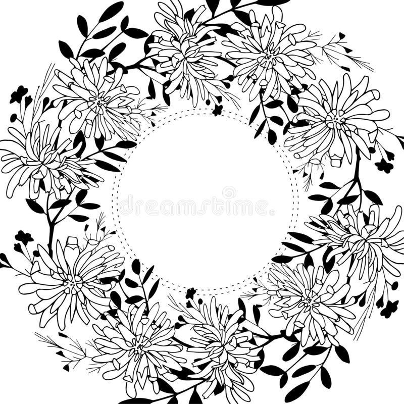 Vector botanical frame with chrysanthemum flowers and silhouettes of herbs. Floral wreath. Perfect for invitation vector illustration