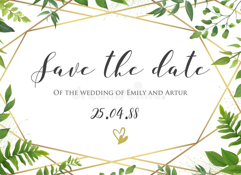 Vector botanical Wedding floral save the date, invite card elegant, modern design with natural forest green fern leaves, greenery. Herbs plants border and royalty free illustration