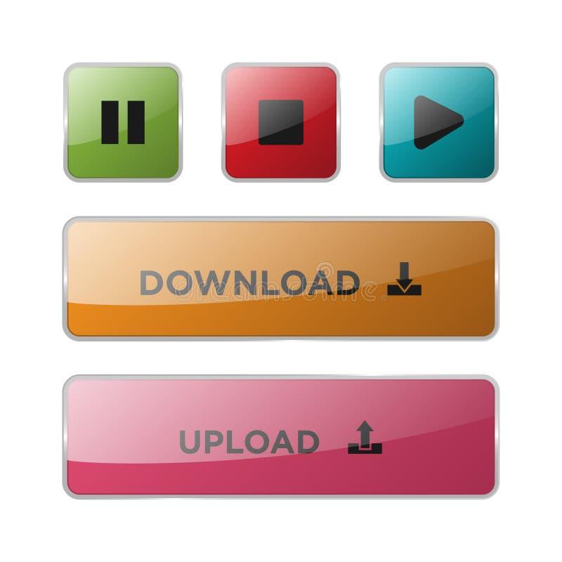 Vector Botones aislados Botones de cristal Iconos del botón del web para Internet stock de ilustración