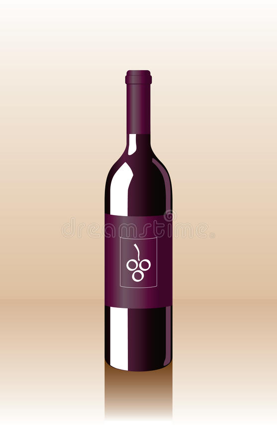 Vector Bottle. Classic, attractive purple bottle of wine royalty free illustration