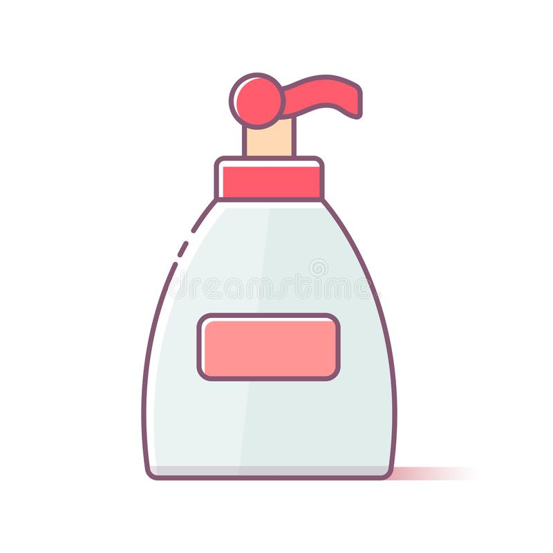Vector bottle of liquid antibacterial soap with dispenser isolated on background vector illustration