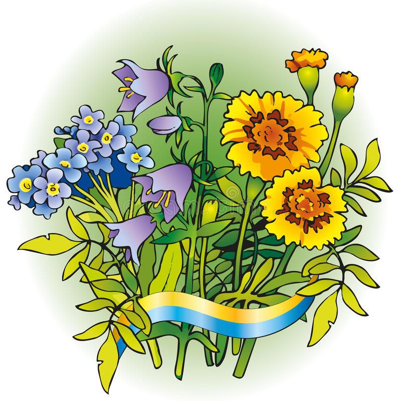 Vector bouquet of flowers for the Ukrainian folk wreaths. Bluebell, forget-me-not and Marigolds related symbolic ribbon with colors of national flag: yellow vector illustration