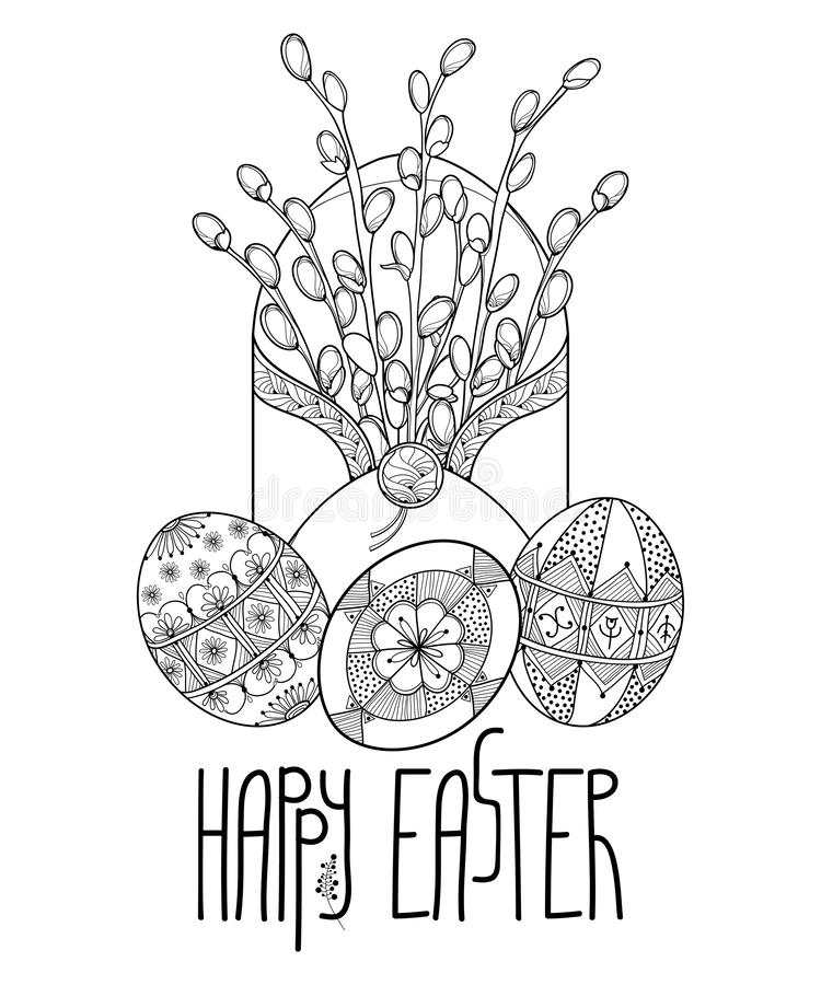 Vector bouquet of outline Willow branch and ethnic Ukrainian Easter egg Pysanka in black isolated on white background. Traditional Christian greeting symbol in royalty free illustration