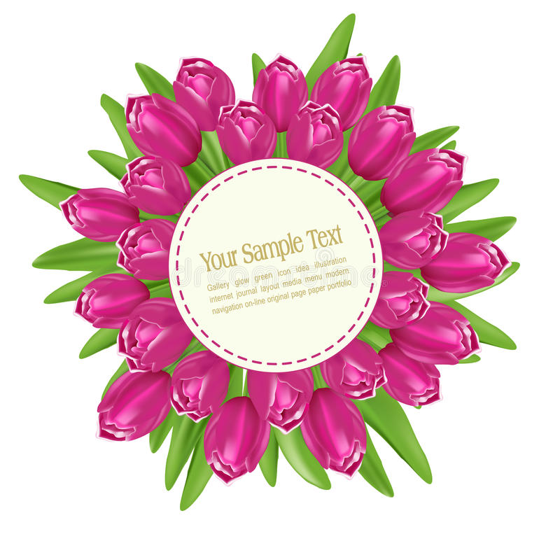 Vector bouquet of tulips. With a round greeting cards on a white background stock illustration