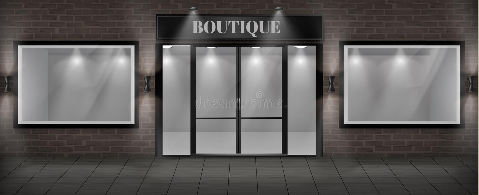 Vector boutique shop facade with signboard. Vector concept background, boutique shop facade with signboard. Storefront with brick wall, entrance with large glass vector illustration
