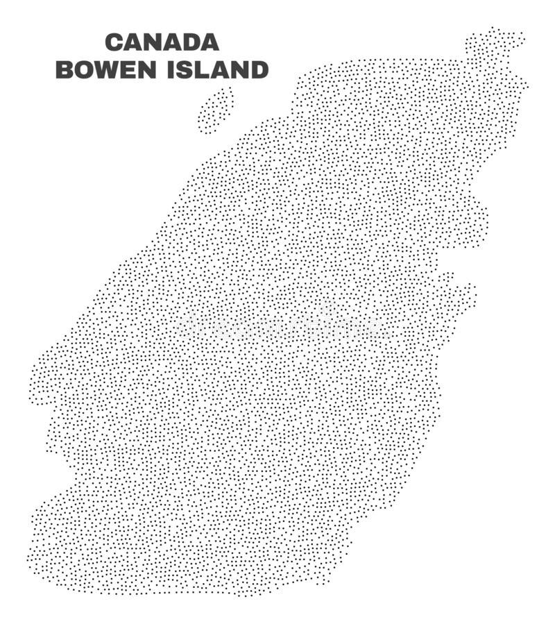 Vector Bowen Island Map of Points. Bowen Island map designed with tiny points. Vector abstraction in black color is isolated on a white background. Random small royalty free illustration