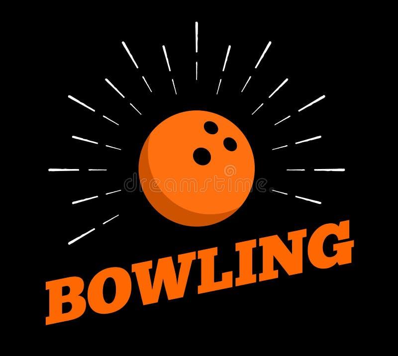 Vector bowling sport ball logo icon sun burtst print hand drawn vintage line art stock illustration