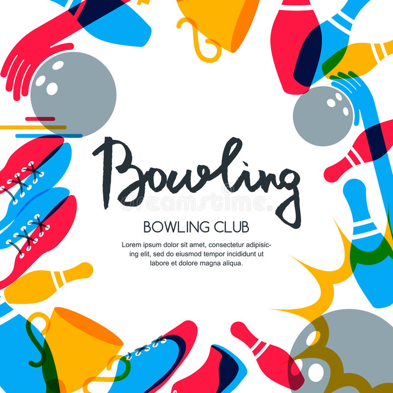 Vector bowling square banner, poster or flyer design template. stock illustration