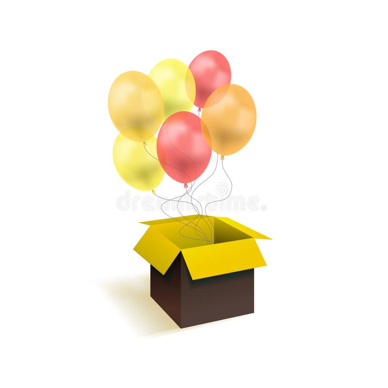 Vector Box with Balloons, Surprise Gift Illustration Isolated, Yellow and Red Colorful Objects, Festive Art. royalty free illustration