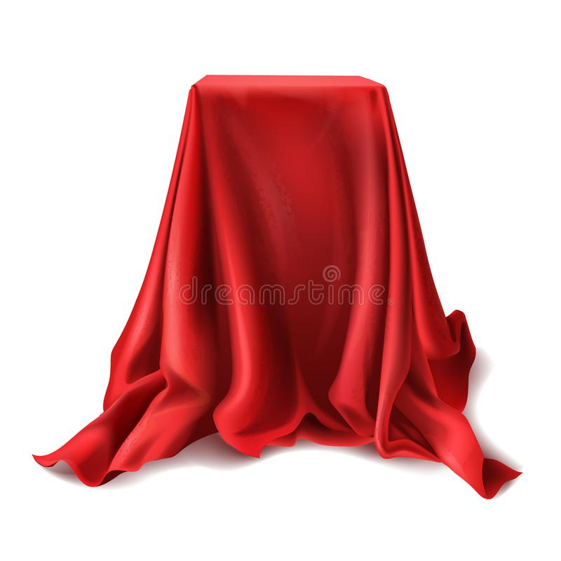 Vector box covered with red silk cloth. Vector realistic box covered with red silk cloth isolated on white background. Empty podium, stand with tablecloth to vector illustration
