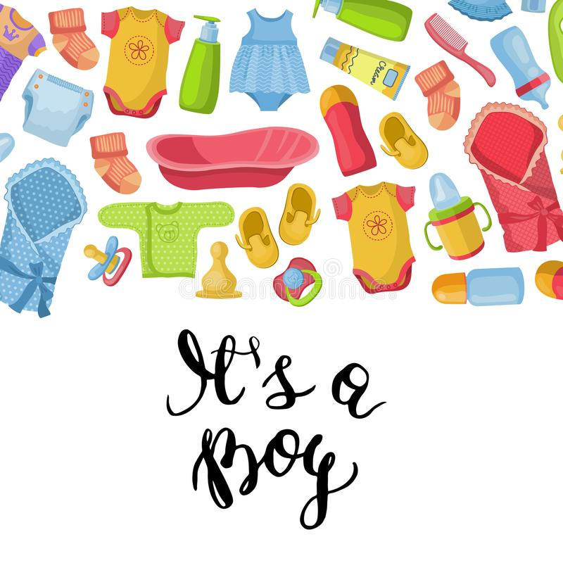 Vector it is a boy illustration with lettering and baby accessories royalty free illustration