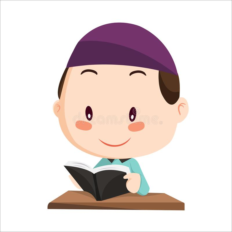 Vector - boy muslim kid. Boy muslim character reading a book stock illustration