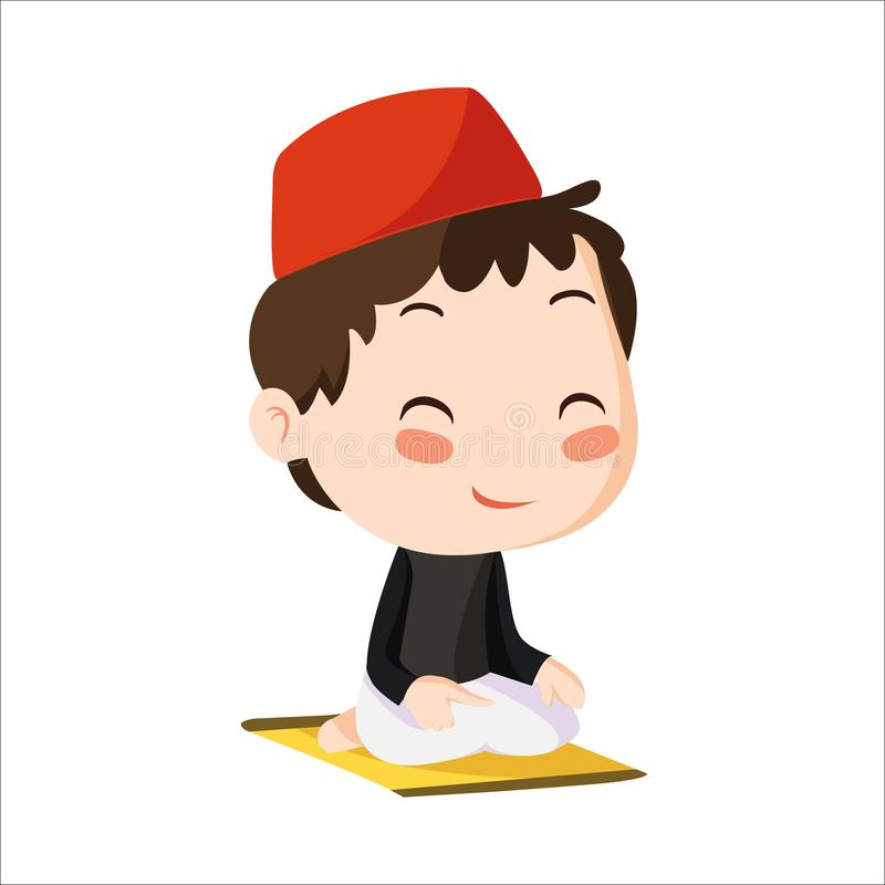 Vector - boy muslim kid. Vector illustration of boy muslim kid. Little boy praying and wearing red cap stock illustration