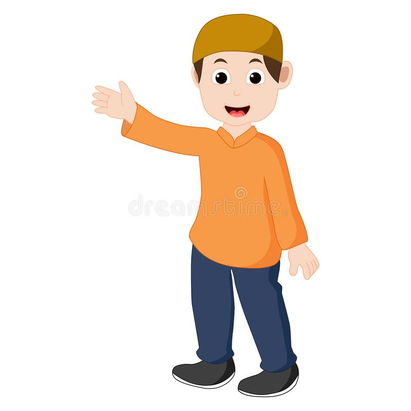 Vector of boy Muslim is pointing. Smiling vector illustration