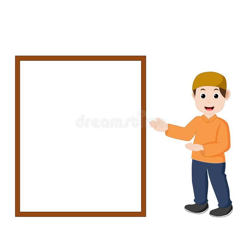 Vector of boy Muslim is pointing to the board. Vector of boy Muslim is pointing to the white board stock illustration