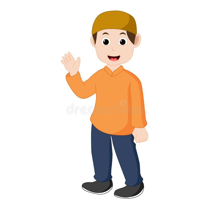 Vector of boy Muslim waving. And smile vector illustration