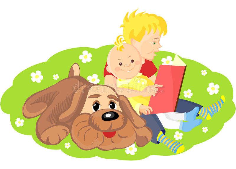 Download Vector Boy Is Reading A Book To His Brother Stock Vector - Illustration: 19316547