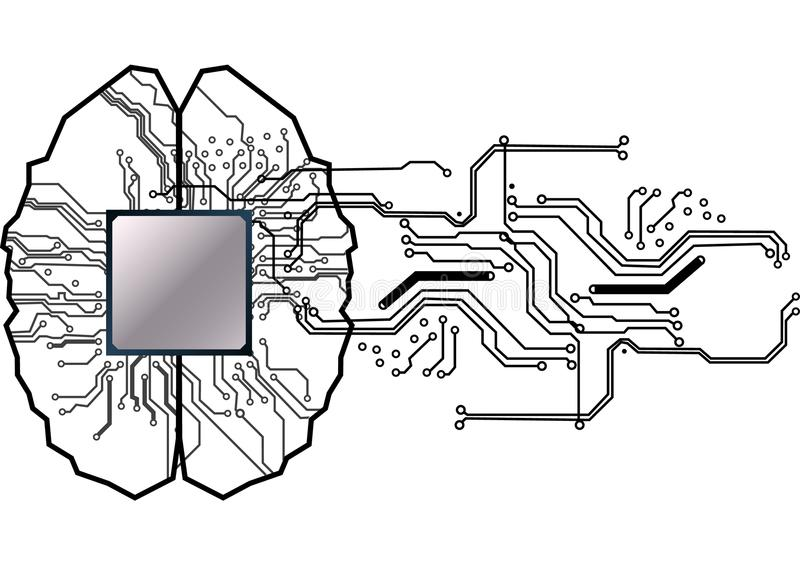 Vector brain with circuit human. Concept illustration of proces. S in the center of computer system.illustation design vector illustration