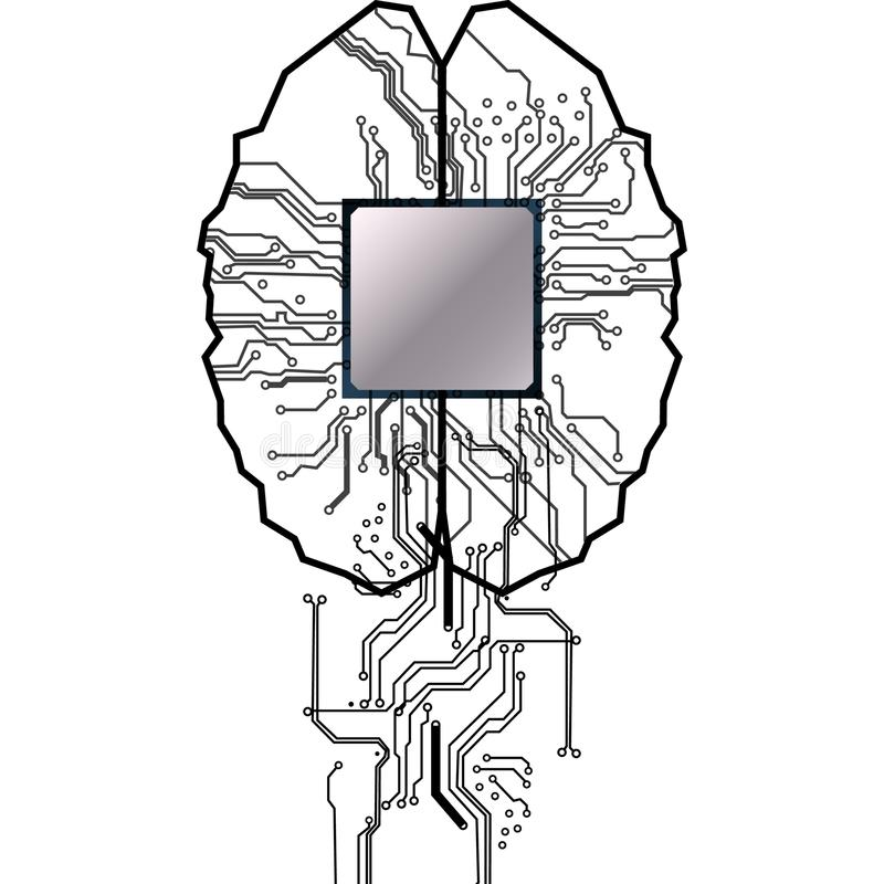 Vector brain with circuit human. Concept illustration of proces. S in the center of computer system.illustation design royalty free illustration