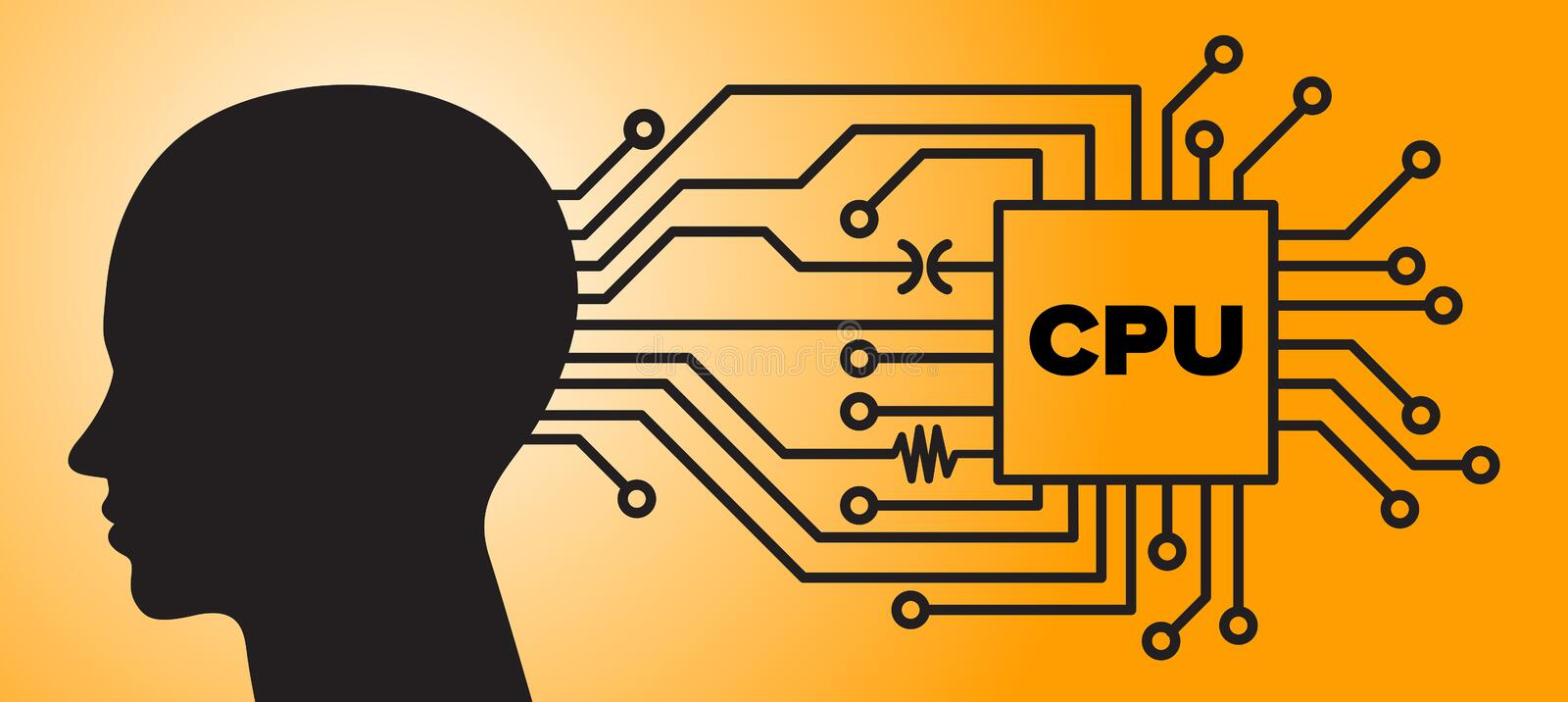 Vector brain interfacing with computer CPU. Vector illustration of human interfacing with computer CPU Central Processing Unit as an upgrade implant for the royalty free illustration