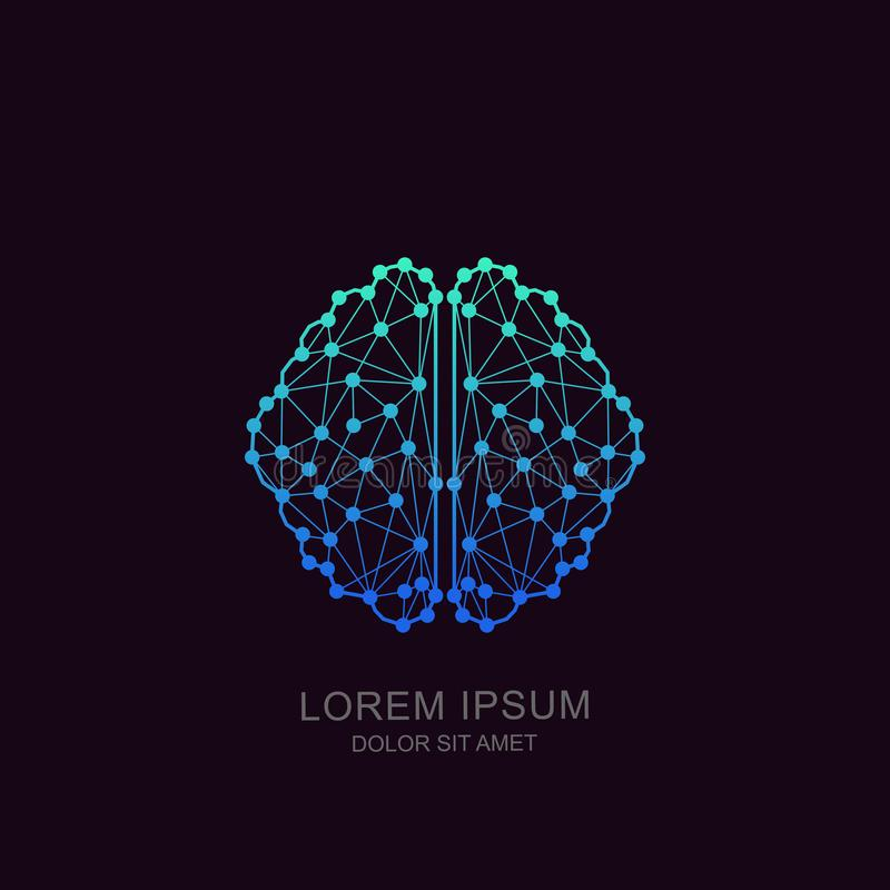 Vector brain logo, icon, emblem design. Concept for neural networks, artificial intelligence, education, high technology. Vector human brain in low poly stock illustration