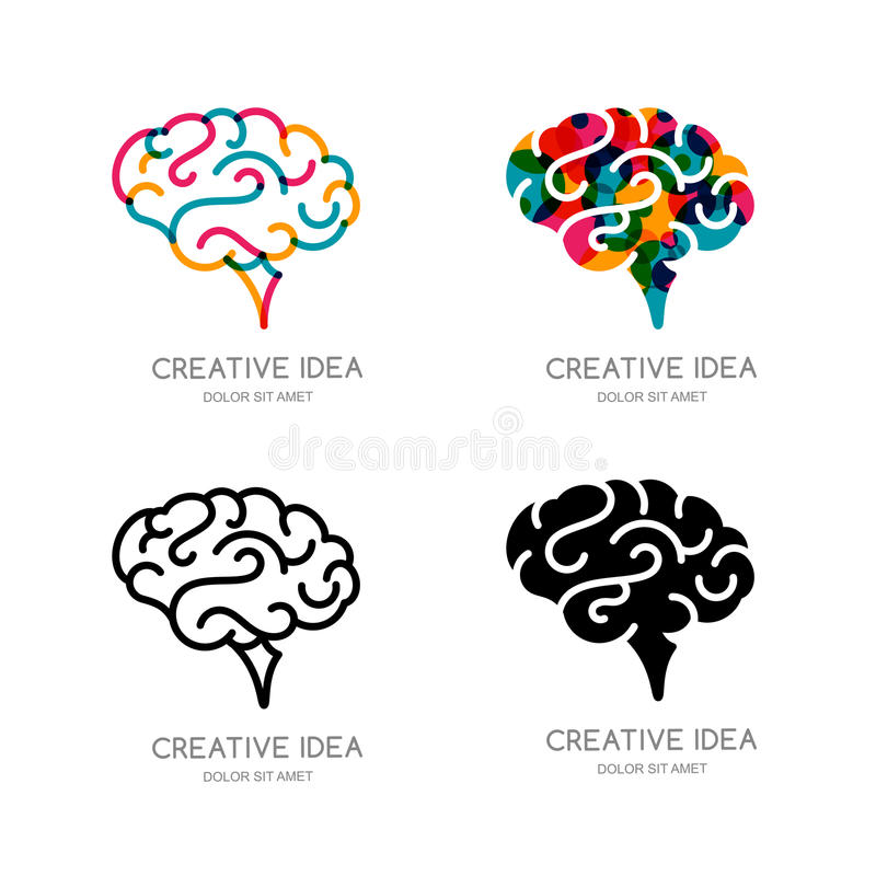 Vector brain logo, sign, or emblem design elements. Outline color human brain, isolated icon. royalty free illustration