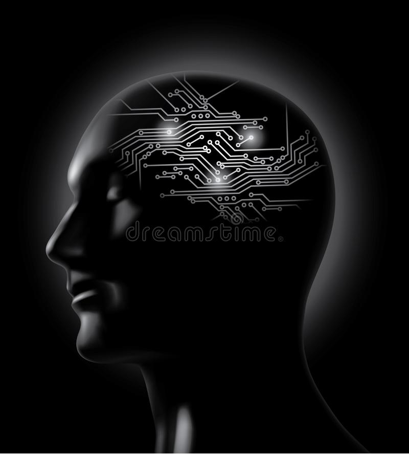 Vector brainstorm- circuit board brain concept royalty free illustration