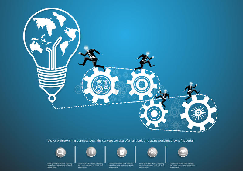 Vector brainstorming business ideas, the concept consists of a light bulb and gears world map icons flat design stock illustration
