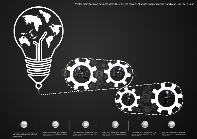 Vector brainstorming business ideas, the concept consists of a light bulb and gears world map icons flat design. Brainstorming business ideas, the concept vector illustration