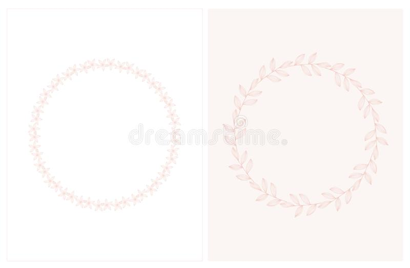 Lovely Hand Drawn Pink Twigs and Flowers on a White and Pink Background. vector illustration