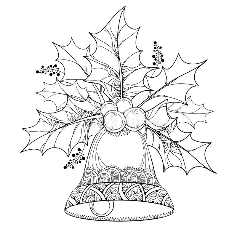 Vector branch with outline leaves and berries of Ilex or Holly berry and ornate bell on white background. vector illustration